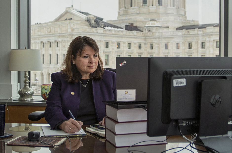 Minority Leader Susan Kent taking notes on a Temporary Senate Rule during a remote hearing for Rules and Administration Committee on Thursday.