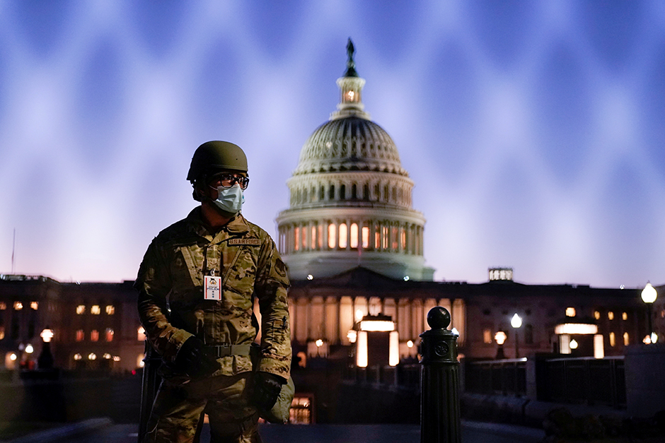 Members of the National Guard outside the U.S. Capitol on Tuesday evening.