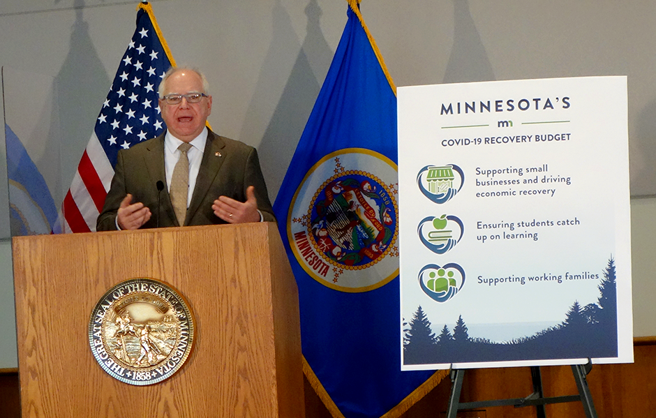 "Gov. Tim Walz stuck to larger themes, not math, in rolling out what he termed ""Minnesota's COVID-19 Recovery Budget"" on Tuesday."