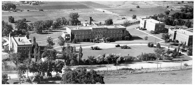 historical aerial photo depicting buildings on grounds of state reformartory
