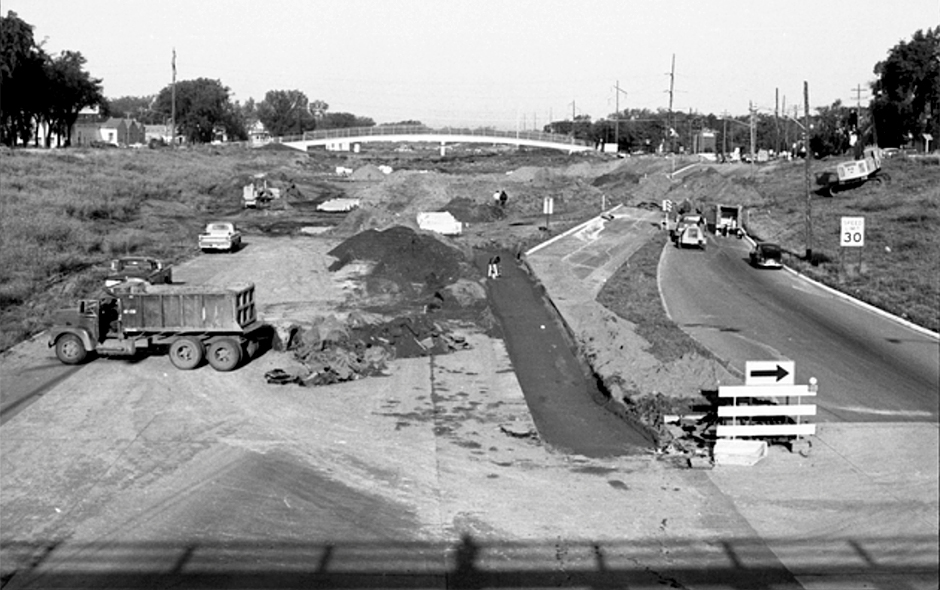 Interstate 94 construction at Fairview Avenue in St. Paul in 1967.