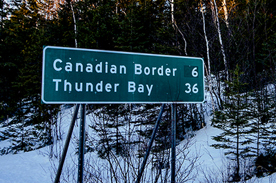 A sign along Highway 61 near Grand Portage