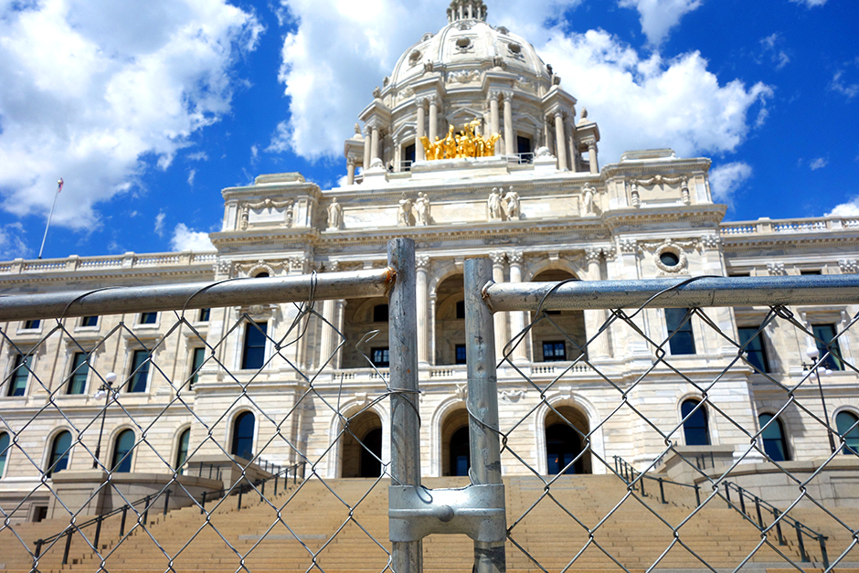 On May 31, 2020, a chain-link fence was placed around the Minnesota Capitol to protect it from those who might cause harm to the building and the people who work inside.