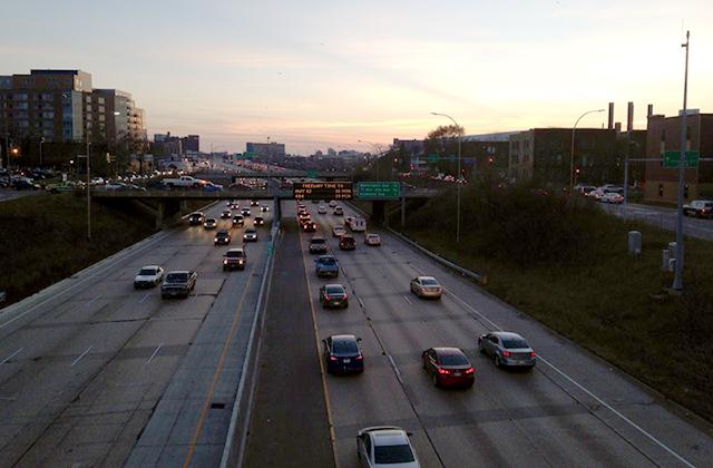 I-94 at sunset in Minneapolis' Seward Neighborhood.