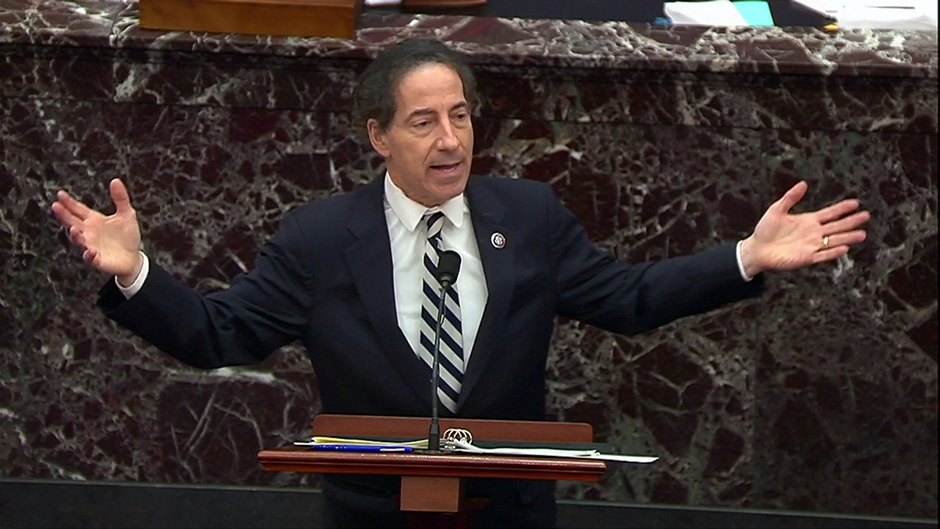 Rep. Jamie Raskin pleading the impeachment managers' case in the impeachment trial of former President Donald Trump on Thursday morning.