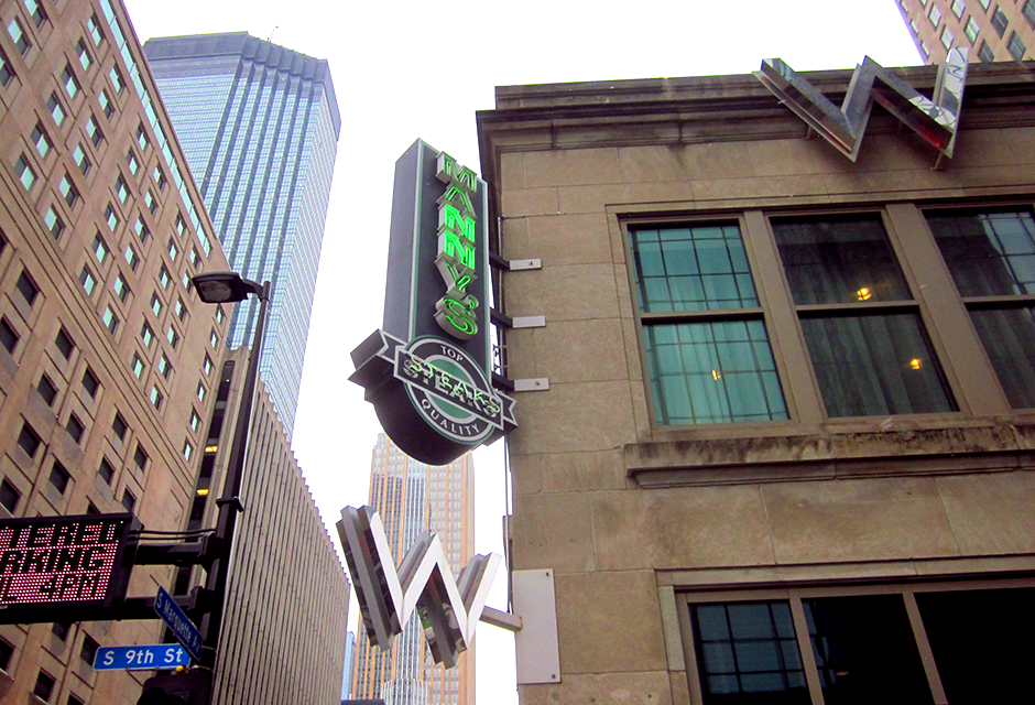 Manny's Steakhouse sign, downtown Minneapolis