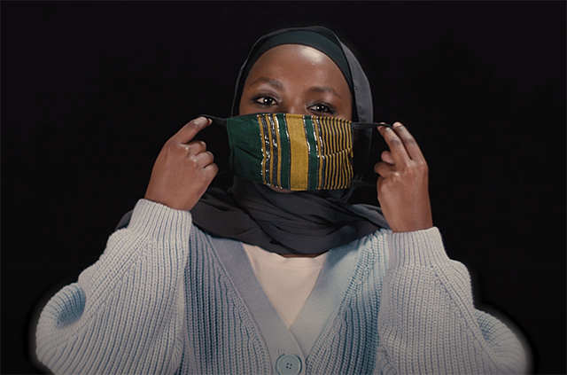 """A still image from """"When we started talking about the impact of COVID,"""" featuring pre-med student Subeida Ismail."""