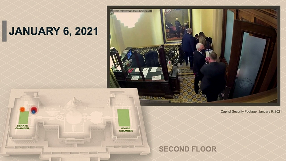 Vice President Mike Pence is rushed out of a secure room and evacuated from the U.S. Capitol on January 6 by his U.S. Secret Service security detail in a still photo from U.S. Capitol Security footage that was introduced as evidence by House impeachment managers.