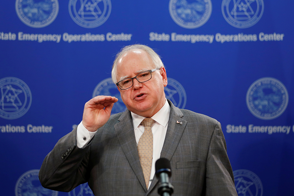 Gov. Tim Walz shown speaking on June 3, 2020, about the change in charges to the police officers involved in the death of George Floyd.