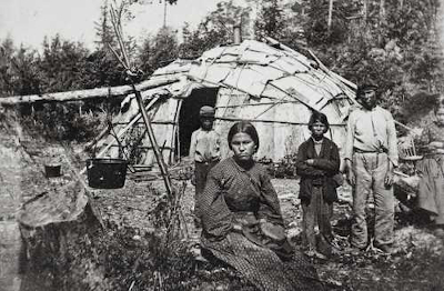 historical photo of an ojibwe family