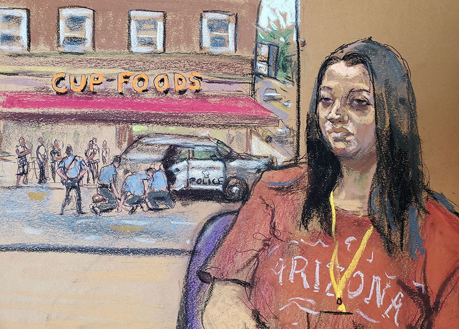 In this courtroom sketch, witness Alisha Oyler shows footage she filmed as she testifies in the trial of former Minneapolis police officer Derek Chauvin.