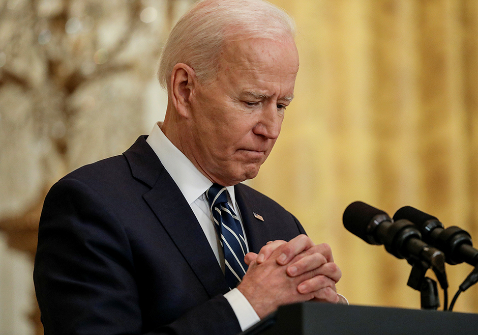 President Joe Biden shown at his first formal news conference in the East Room of the White House on Thursday.