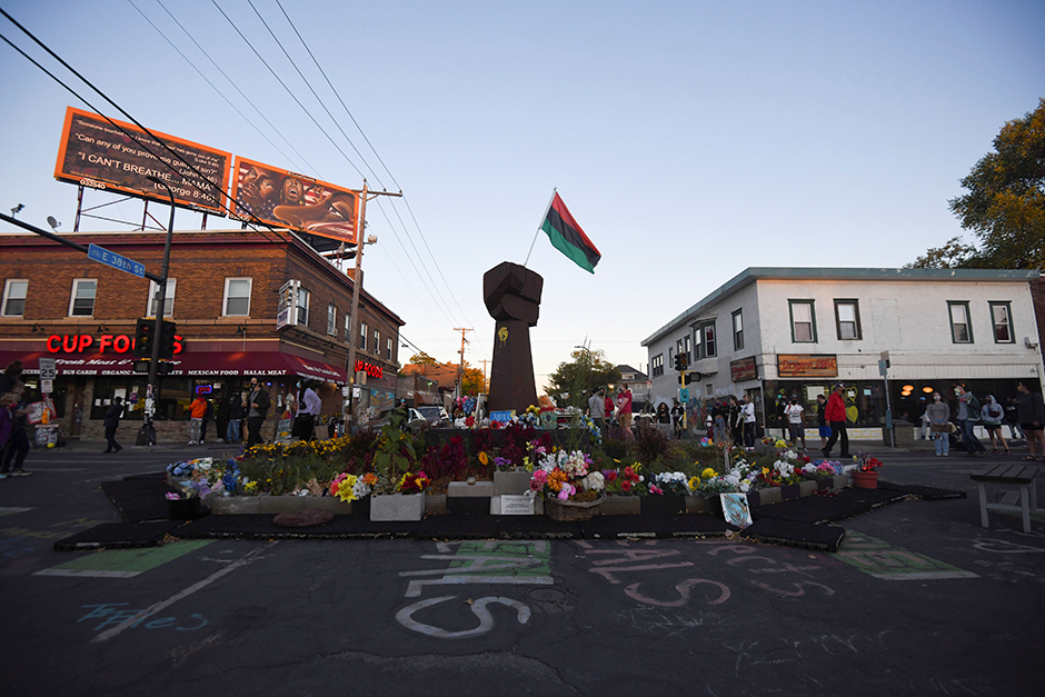 Demonstrators gathered at the George Floyd Memorial site following the release of former Minneapolis police officer Derek Chauvin, after he posted bail on October 7, 2020.