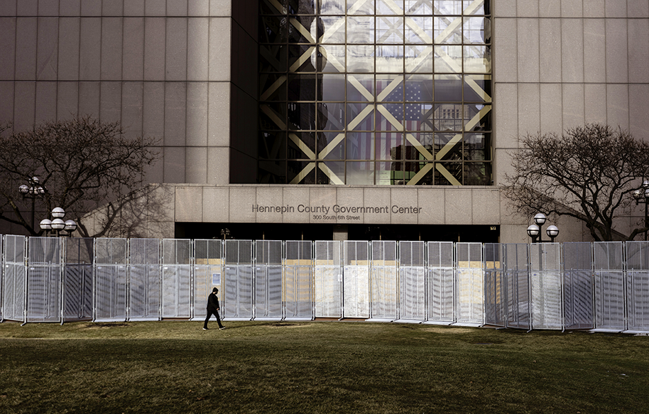 Fences shown in front of the Hennepin County Government Center in downtown Minneapolis.