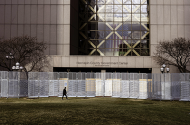 Fences shown in front of the Hennepin County Government Center