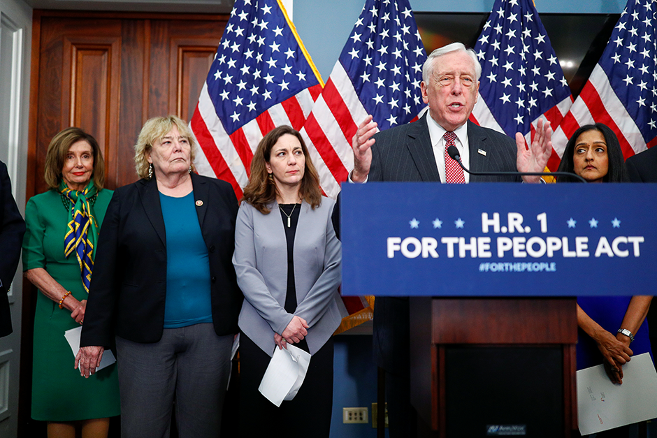 House Majority Leader Steny Hoyer speaking during a January news conference to call on Senate Republicans to act on H.R.1.