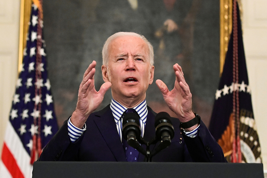 President Joe Biden speaking from the White House after his coronavirus pandemic relief legislation passed in the Senate on March 6, 2021.
