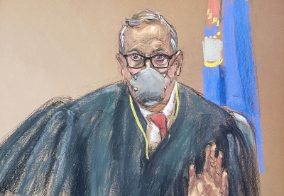 A courtroom sketch of Judge Peter Cahill presiding over jury selection in the trial of Derek Chauvin.