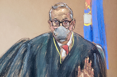 A courtroom sketch of Judge Peter Cahill