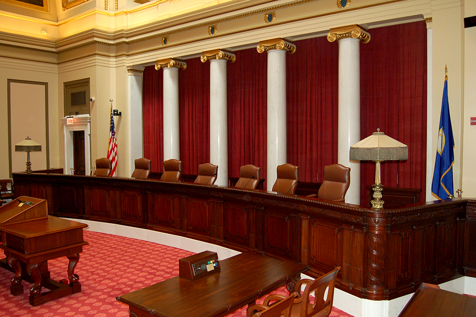 The Minnesota Supreme Court dais in the State Capitol building.