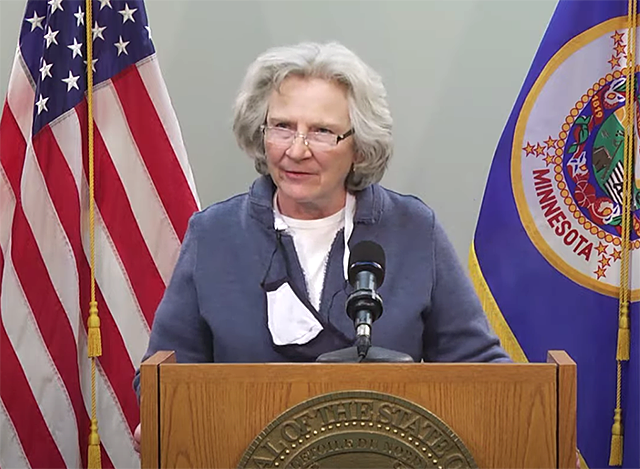 Health Commissioner Jan Malcolm speaking during Friday's press conference.