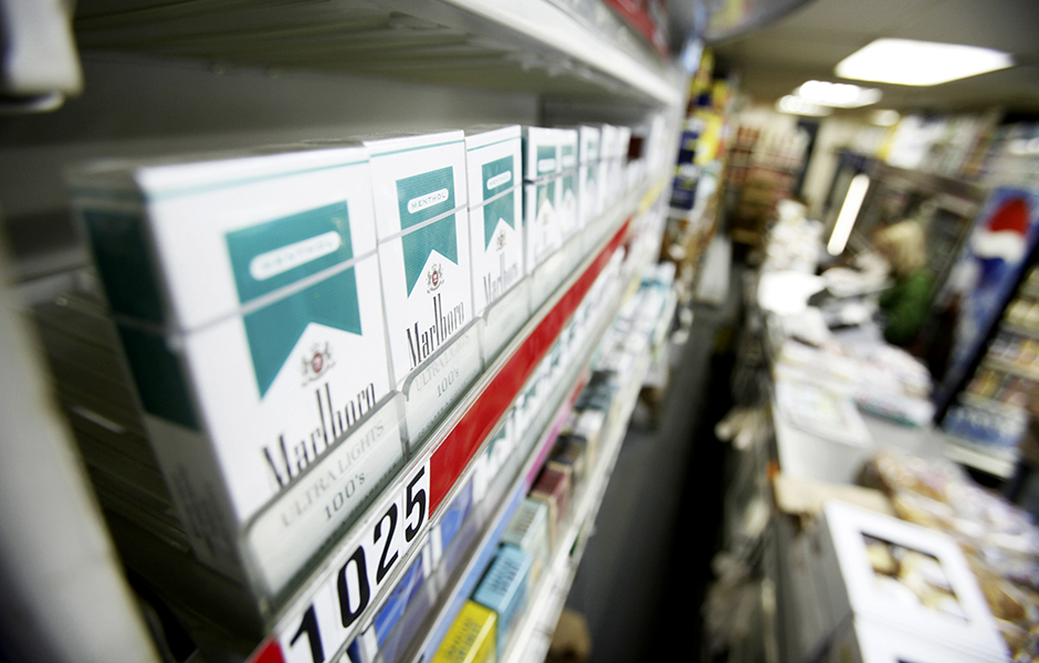 Menthol flavored cigarettes are displayed in a store in New York City.