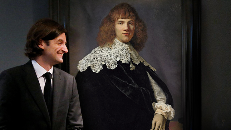 Dutch art dealer Jan Six XI with the Rembrandt he discovered.