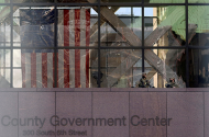 Members of the National Guard keep watch outside of the Hennepin County Government Center