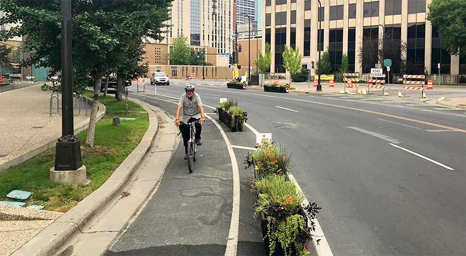 Minneapolis' first planter-protected bike lane on 3rd Avenue South.