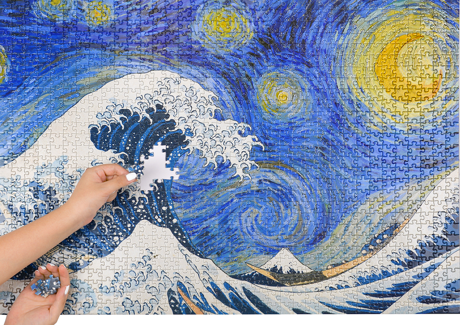 """""""Starry Wave,"""" a mash-up of Van Gogh's """"Starry Night"""" and """"The Great Wave"""" by Hokusai, is Blue Kazoo's most popular single puzzle."""