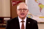 Gov. Tim Walz shown delivering the 2021 State of the State Address
