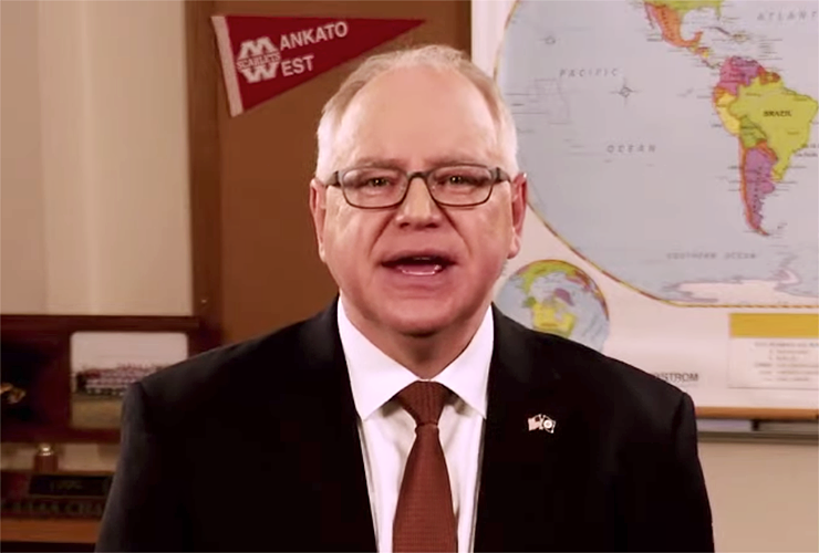 Gov. Tim Walz shown delivering the 2021 State of the State Address on Sunday.