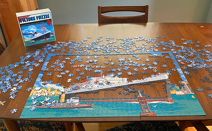 One of the Vintage Travel puzzles in progress.