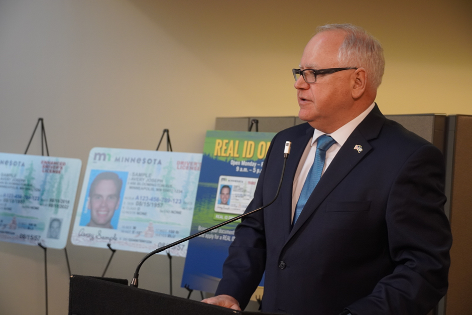 Gov. Tim Walz shown opening a REAL ID office at Minneapolis-St. Paul International Airport on March 4, 2020.