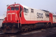 photo of red and white soo line locomotive