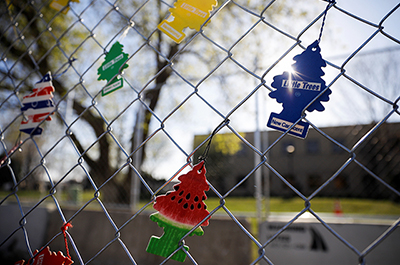 Air fresheners are seen hanging from a fence