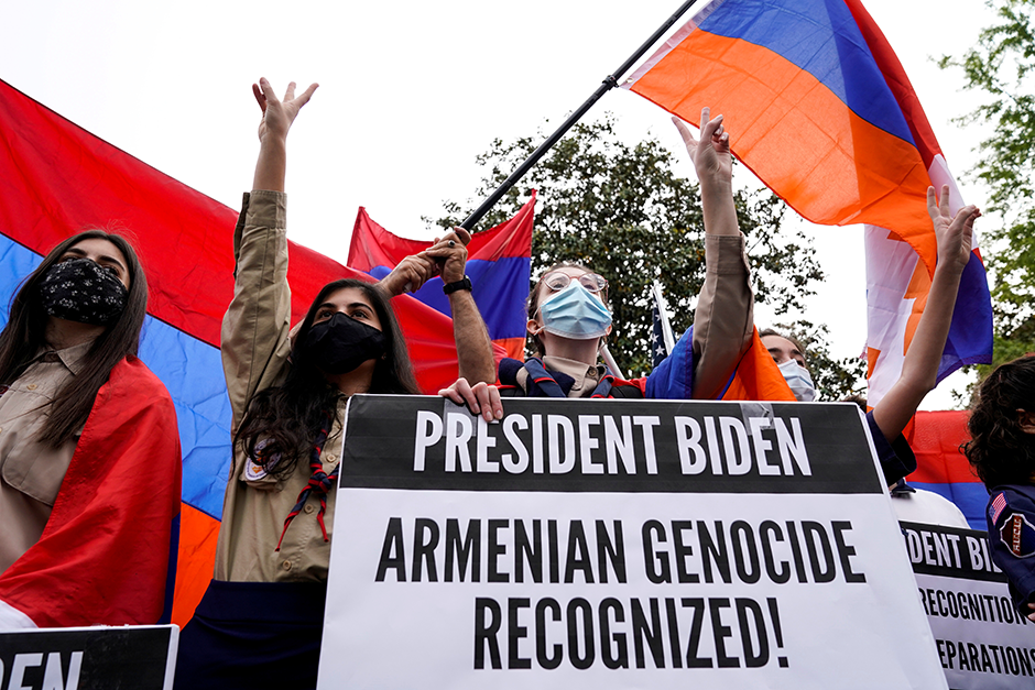 Members of the Armenian diaspora rally in front of the Turkish Embassy in Washington on Saturday after President Joe Biden recognized that the 1915 massacres of Armenians in the Ottoman Empire constituted genocide.