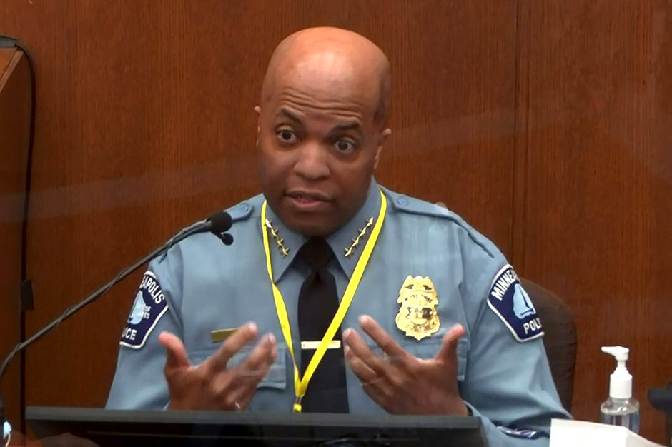 Minneapolis Police Chief Medaria Arradondo answering questions on the sixth day of the trial of former Minneapolis police officer Derek Chauvin.