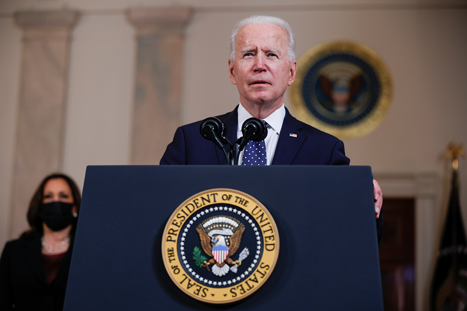 President Joe Biden speaking in the Cross Hall at the White House after a jury reached guilty verdicts in the murder trial of former Minneapolis police officer Derek Chauvin.