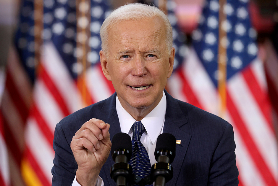 President Joe Biden speaking about his infrastructure plan at the Carpenters Pittsburgh Training Center on March 31.