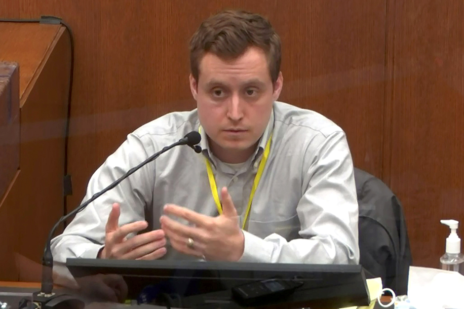 Dr. Bradford Langenfeld answering questions on the sixth day of the trial of former Minneapolis police officer Derek Chauvin.