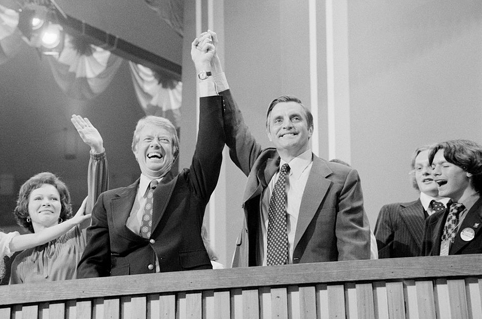 Jimmy Carter and Walter Mondale at the Democratic National Convention at Madison Square Garden in New York City, July 15, 1976.