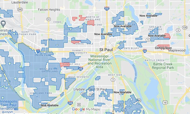 Centurylink's fiber service map in St. Paul.