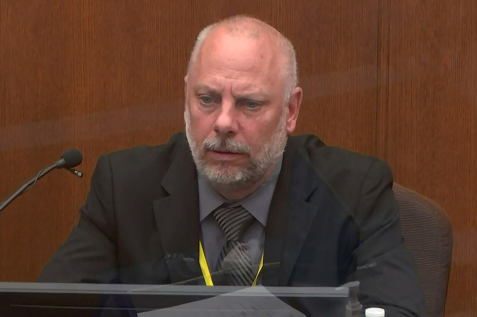 Retired Minneapolis Police Sergeant David Ploeger answering questions on the fourth day of the trial of former Minneapolis police officer Derek Chauvin.