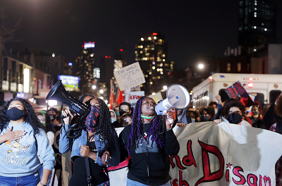 Protesters marched following the verdict in the trial of former Minneapolis police officer Derek Chauvin, in Brooklyn, New York City, on Tuesday.