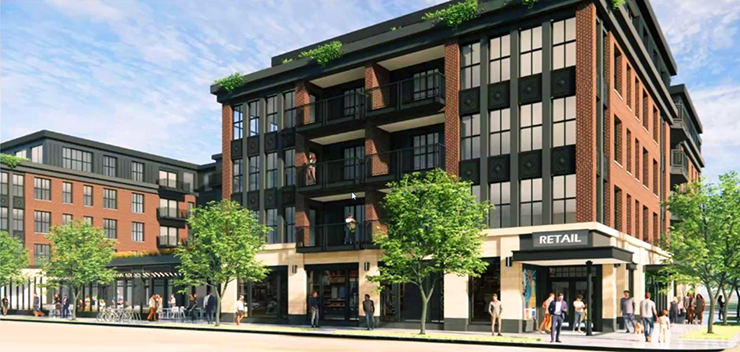 A rendering of a proposed development on land currently occupied by Dixie's on Grand.
