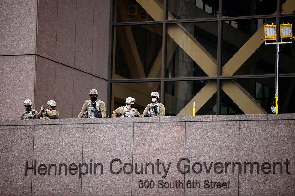 Members of the National Guard are seen at the Hennepin County Government Center on Tuesday.