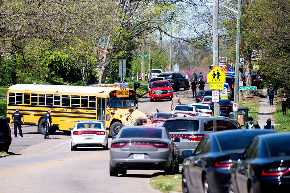 Police responding to a shooting at Austin-East Magnet High School in Knoxville, Tennessee, on April 12, 2021.