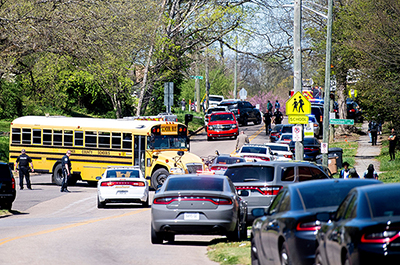 Police responding to a shooting at Austin-East Magnet High School