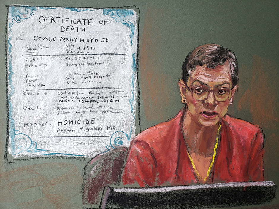 A courtroom sketch of forensic pathologist Dr. Lindsey Thomas testifying on the tenth day of the trial of former Minneapolis police officer Derek Chauvin.
